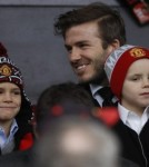 David Beckham With Sons Brooklyn, Romeo & Cruz at Old Trafford