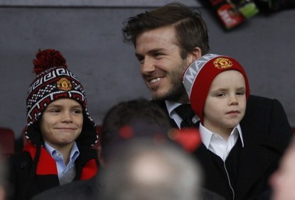 David Beckham With Sons Brooklyn, Romeo & Cruz at Old Trafford