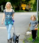 Tori Spelling and Her Son Liam Walking their Pet Goat