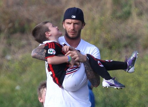 David Beckham Attends Son's Practice