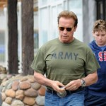 Arnold Schwarzenegger and his son Christopher out for Father's Day