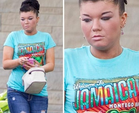 Amber Portwood outside her home in Anderson
