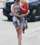 Ashlee Simpson and Bronx at Costco