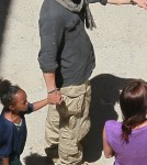 Angelina Jolie, Zahara and Shiloh Visit Brad Pitt on Set