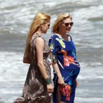 January Jones on the Beach During Her Baby Shower