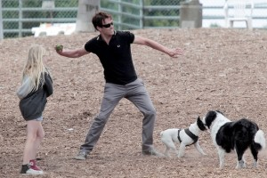 Stephen Moyer and Daughter Lilac at the Dog Park