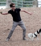 Stephen Moyer and Daugther Lilac at the Dog Park