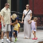 Heidi Klum in Soho, NYC wtih Leni, Henry, Johan and Lou