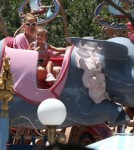 Jennifer Lopez and Emme Flying Dumbo at Disneyland in California