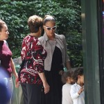 Jennifer Lopez takes her twins Emme and Max to the Parc Monceau, Paris, France