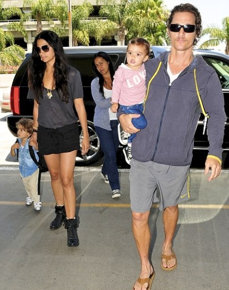 Matthew McConaughey with Camila Alves and their son Levi, two, and one-year-old daughter Vida at LAX