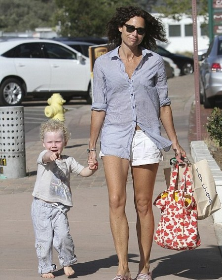Minnie Driver and Son Play in the Park