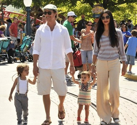 Matthew McConaughey and Camila Alves With Their Children Vida and Levi