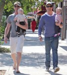 Actor Neil Patrick Harris and his partner David Burtka out for Father's Day dinner with their twins Gideon Scott and Harper Grace