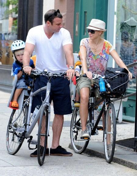 Naomi Watts and Liev Schreiber take their children Sasha and Samuel for a bike ride in NYC
