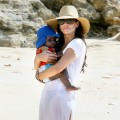 Sandra Bullock With Son Louis on the Beach