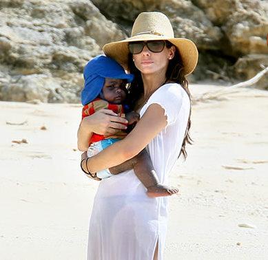 Sandra Bullock With Son Louis on the Beach
