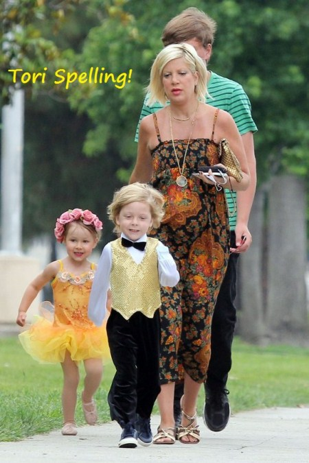Tori Spelling and Kids Go to Ballet