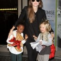 Angelina Jolie, Shiloh & Zahara Land At LAX
