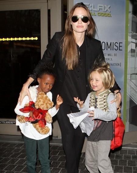 Angelina Jolie, Shiloh & Zahara Land At LAX
