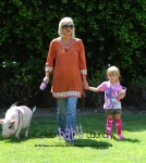 Tori Spelling and Daughter Take Pet Pig Hank For A Walk