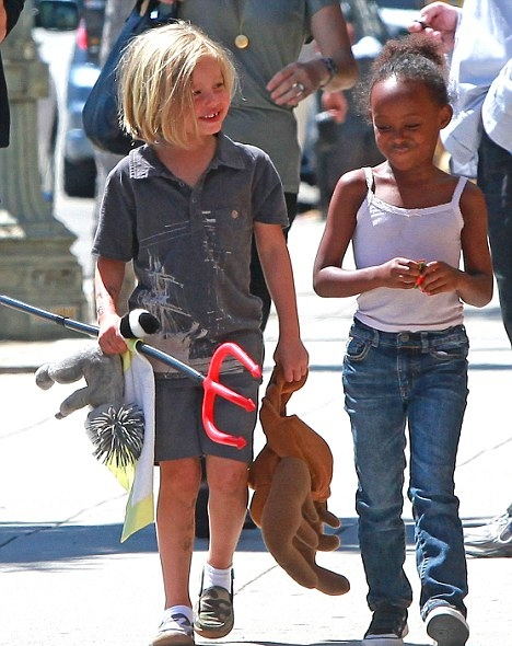 Six-year-old shiloh jolie-pitt sporting her new pixie haircut