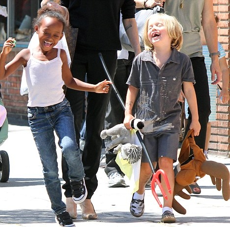 Angelina Jolie Spends the Day With Shiloh and Zahara in LA
