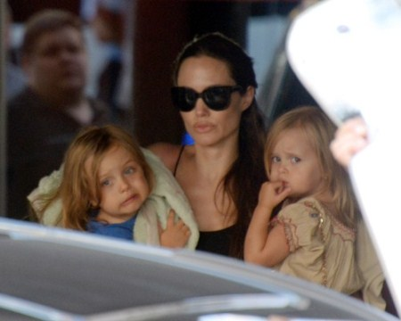 Angelina Jolie Goes Bowling With Her Children