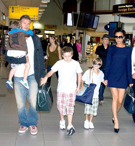 Victoria Beckham and David Beckham With Children