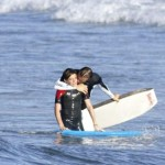 David Beckham and his oldest son, Brooklyn boogie boarding