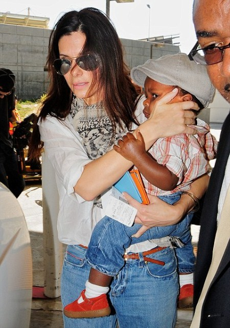 Sandra Bullock and Her Son Louis Arriving in Los Angeles