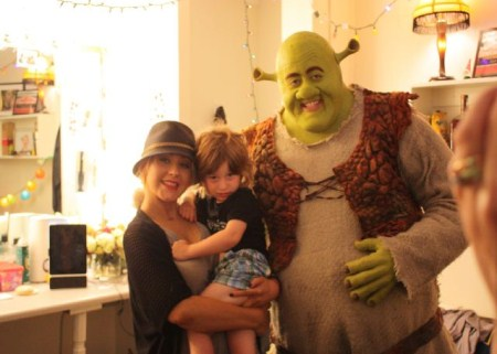 Christina Aguilera and Son Max Meet Shrek in NYC Broadway
