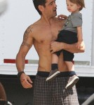 Colin Farell and Son Henry on the set of Total Recall