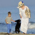 January Jones Pregnant on the Beach With a Friend's Son and Dog