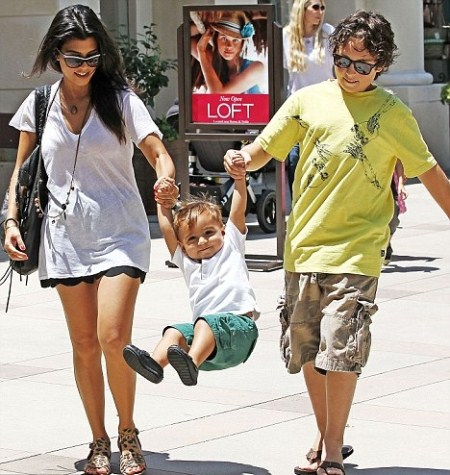 Kourtney Kardashian Lets Mason Take a Swing