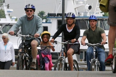 Matt Damon Bikes With Family in Vancouver