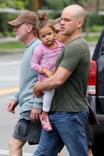 Matt Damon Bikes With Family in Vancouver