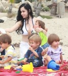 Octomom, Nadya Suleman Spends the Day With Her Children on the Beach