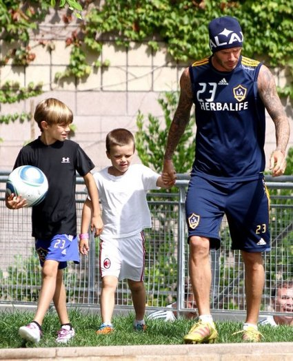 David Beckham Hits The Soccer Field With His Boys