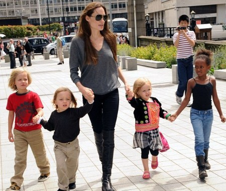 Angelina Jolie Takes Her Girls and Knox to the Aquarium
