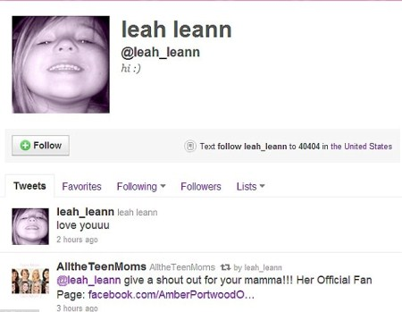 Amber Portwood's Daughter Leah's Twitter Account
