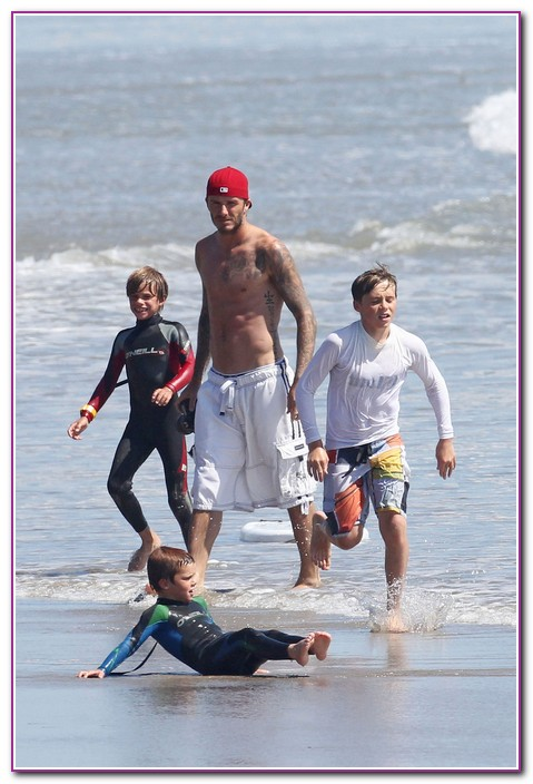 David Beckham & His Catch Some Waves On Boogie Boards in Malibu