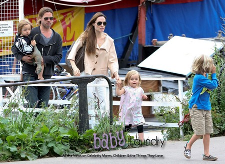 Angelina Jolie and Brad Pitt Spend the Day with Their Twins