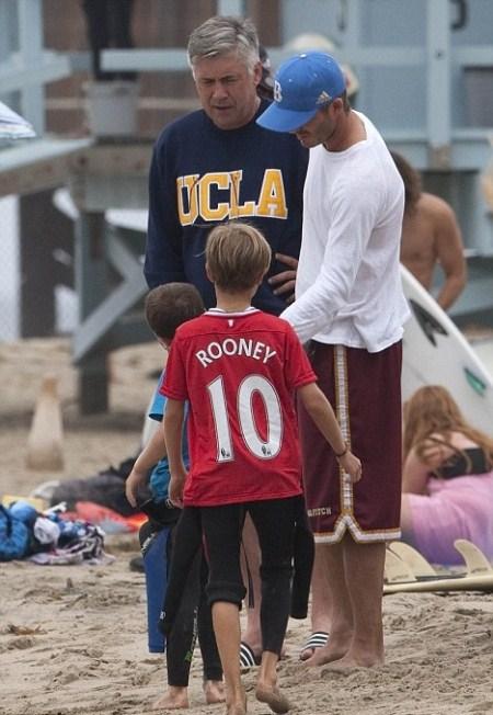 David Beckham's Son Rome Wears a Wayne Rooney Jersey