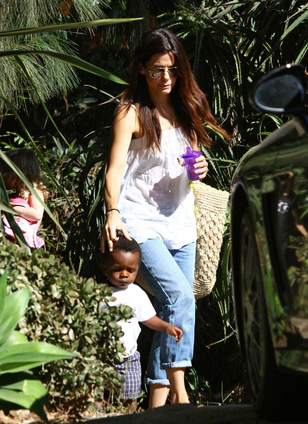 Sandra Bullock arrived at a private residence in Los Angeles, California on August 29, 2011 with her adorable son Louis.
