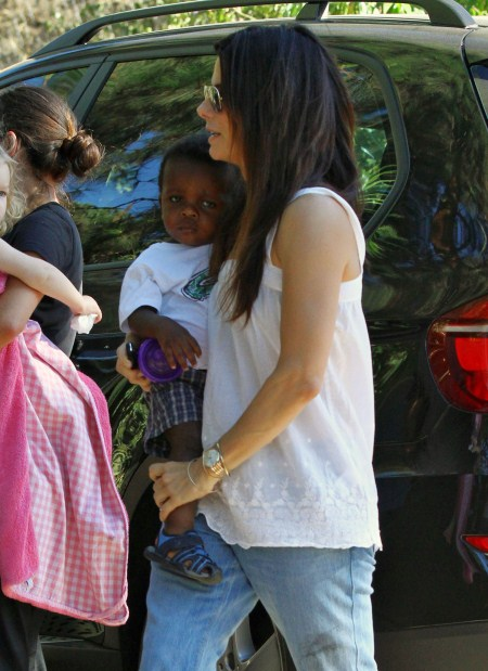 Sandra Bullock and Louis Visit a Friend