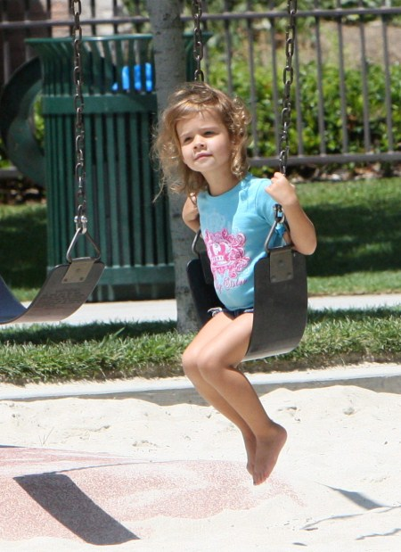 Cash Warren, at Coldwater Park in Beverly Hills with his adorable daughter Honor on August 20th, 2011.