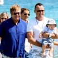 elton John, David Furnish and Baby Zachary in Saint Tropez