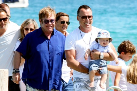 elton John, David Furnish and Baby Zachary in Saint Tropez