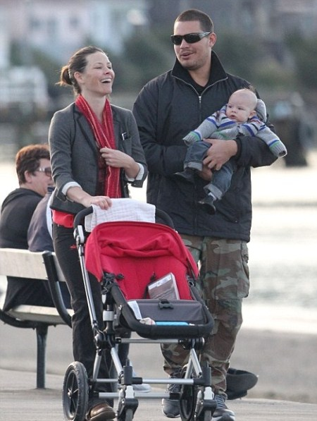 evangeline Lilly with son and boyfriend Norman